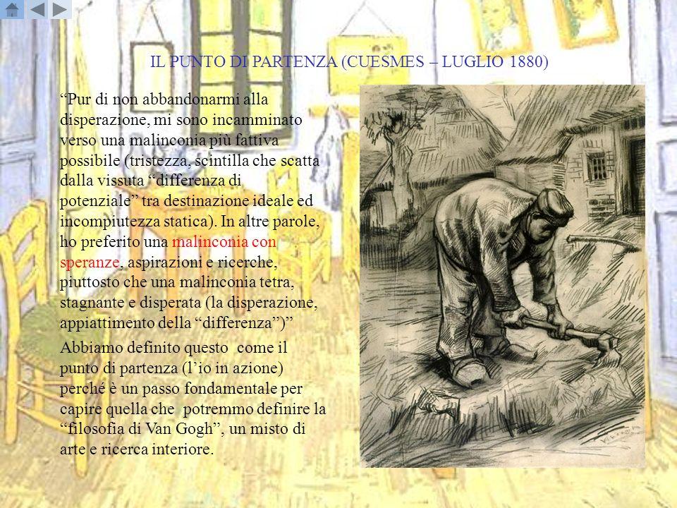 IL SENSO RELIGIOSO DI VAN GOGH I punti principali del senso religioso di Van Gogh che abbiamo individuato nelle sue lettere e che rappresentano il suo animo travagliato e oscillante tra gioia e depressione sono: - il punto di partenza: la decisione di non abbandonarsi alla disperazione, ma di vivere la tristezza come voglia di fare;il punto di partenza - lamore: è la chiave per superare le difficoltà della vita;lamore - il perché della propria vita: la continua ricerca di una risposta attraverso lattività, che per Vincent è la pittura;il perché della propria vita - conoscere Dio: se non si riesce a trovare una piena risposta attraverso la propria attività, allora è perché cè qualcosa oltre, Dio, che noi dobbiamo prendere come modello per giudicare il bene ed il male;conoscere Dio - linfinito si intravede nella vita: il sogno della vita riconduce allinfinito, questa volta non più una concezione materiale, ma qualcosa di più spirituale.linfinito si intravede nella vita - linfinito: Vincent vede nelle sue esperienze sprazzi di infinito (in una concezione materiale) che si mischiano nel periodo che va dal 1883 al 1884 alla concezione di Dio e della propria forza;linfinito - la forza nella propria fede: grazie alla propria energia e a Dio si riescono a superare le delusioni;la forza nella propria fede - la vita e i suoi aspetti come sogno: Vincent ritorna al concetto di infinito e si sente un viandante in cerca di una meta;la vita e i suoi aspetti come sogno