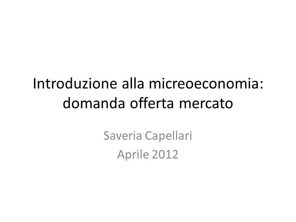 Introduzione alla micreoeconomia: domanda offerta mercato Saveria Capellari Aprile 2012