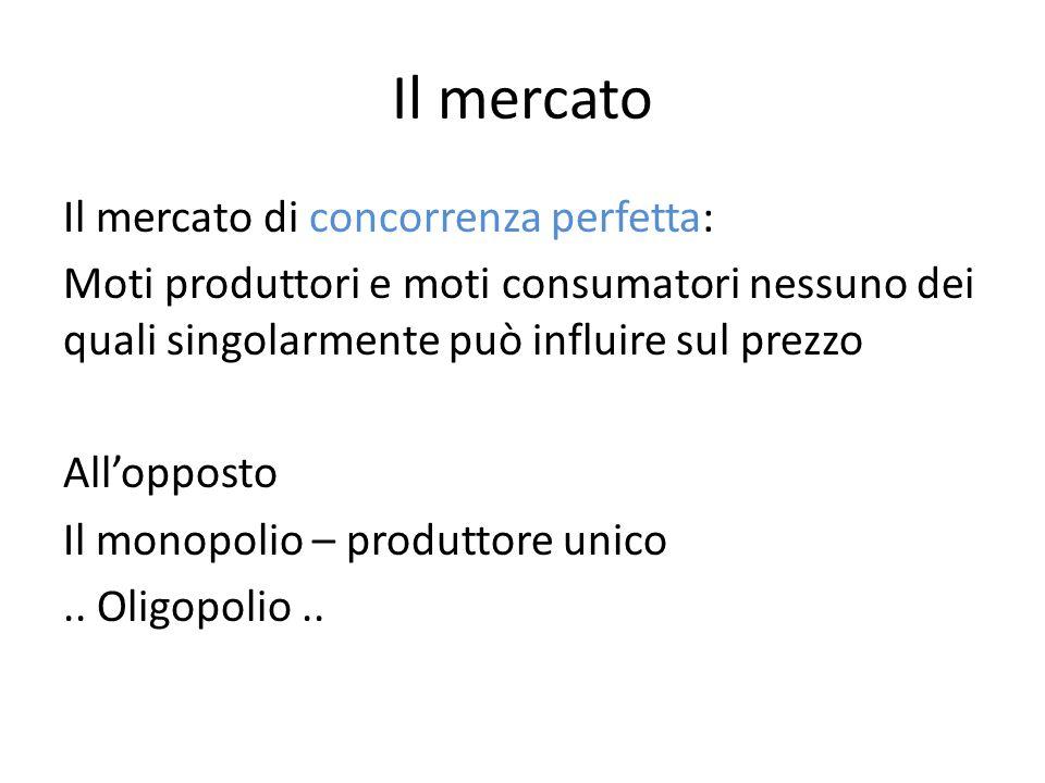 Il mercato Il mercato di concorrenza perfetta: Moti produttori e moti consumatori nessuno dei quali singolarmente può influire sul prezzo Allopposto Il monopolio – produttore unico..
