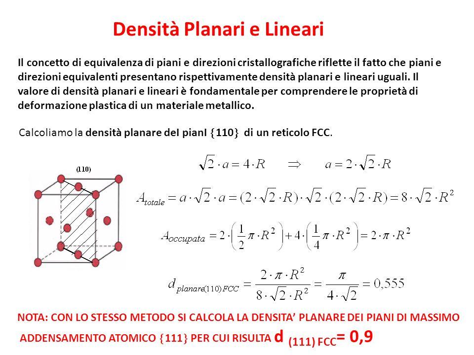 Densità Planari e Lineari Il concetto di equivalenza di piani e direzioni cristallografiche riflette il fatto che piani e direzioni equivalenti presen