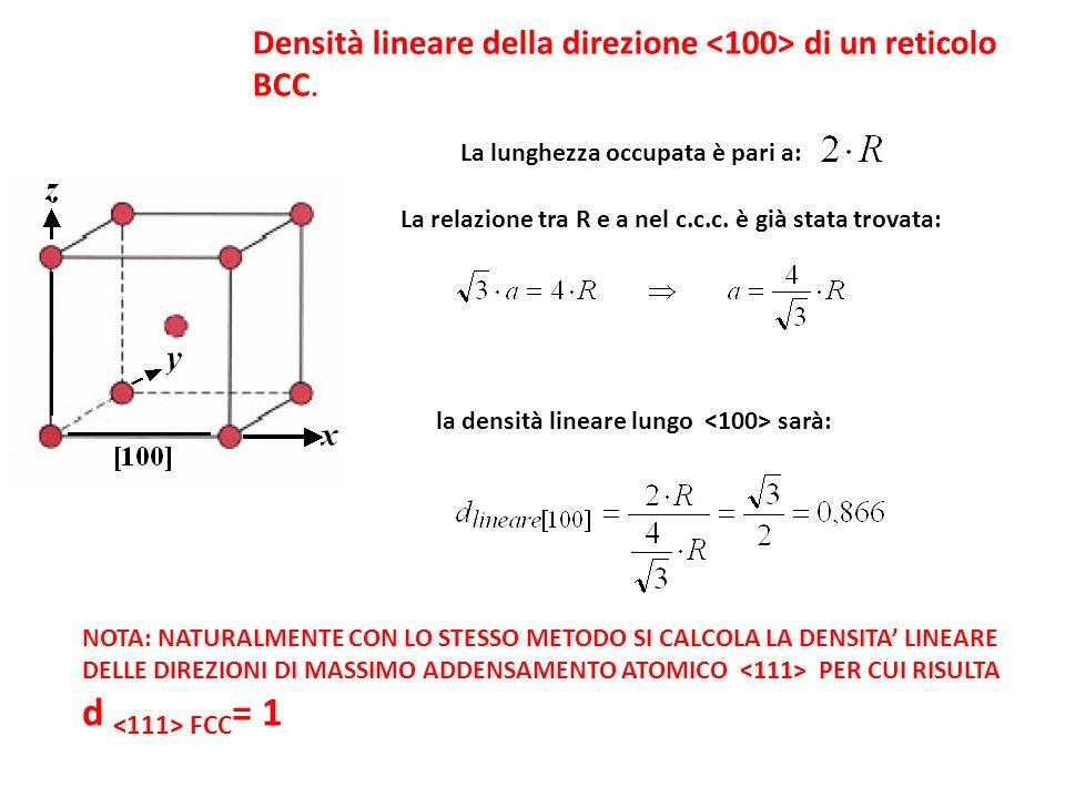 Densità lineare della direzione di un reticolo BCC. La lunghezza occupata è pari a: La relazione tra R e a nel c.c.c. è già stata trovata: la densità
