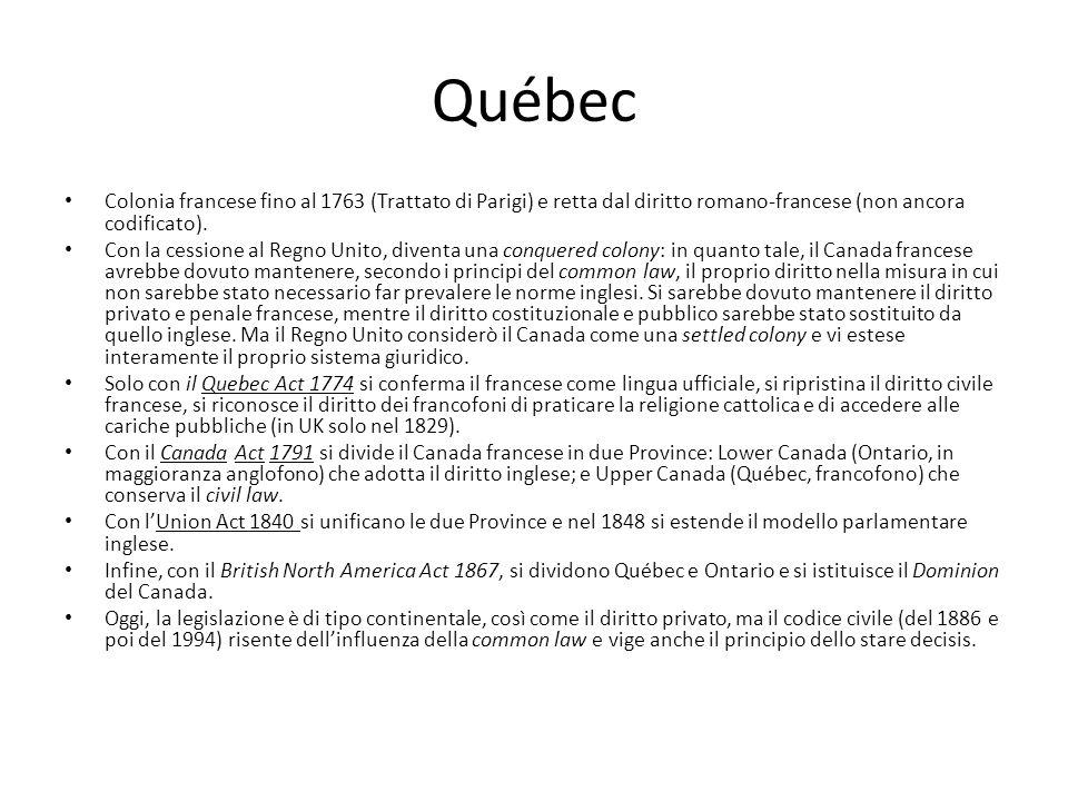Québec Colonia francese fino al 1763 (Trattato di Parigi) e retta dal diritto romano-francese (non ancora codificato). Con la cessione al Regno Unito,