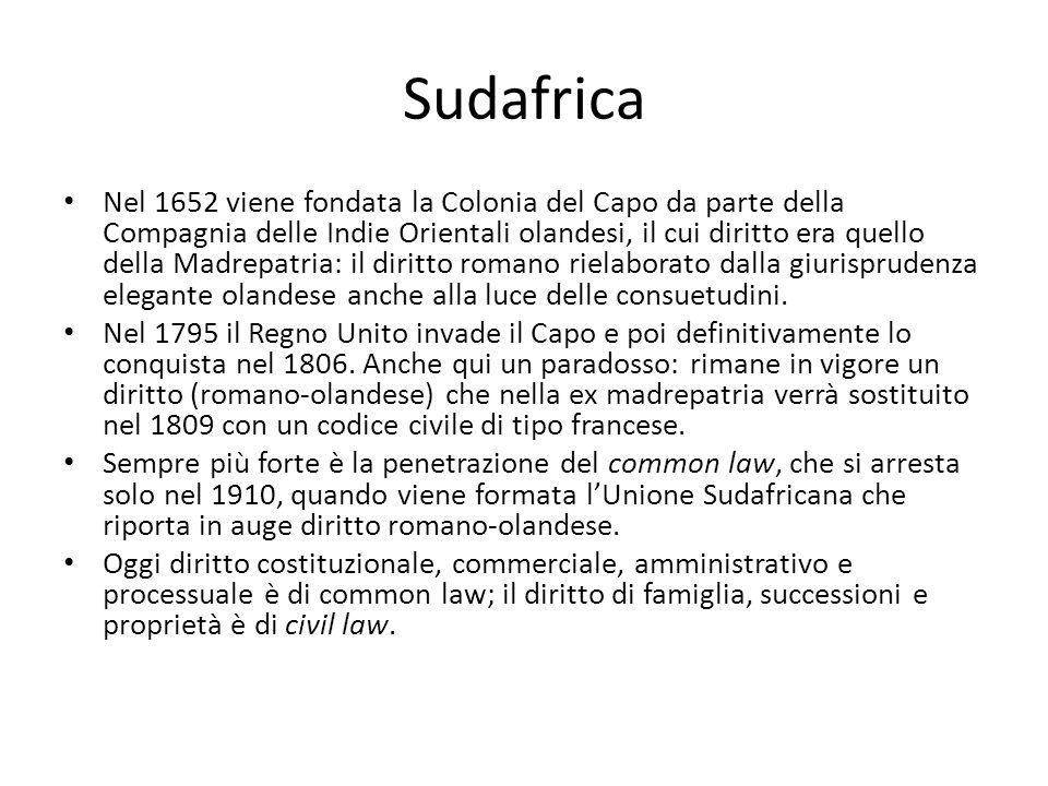 Sudafrica Nel 1652 viene fondata la Colonia del Capo da parte della Compagnia delle Indie Orientali olandesi, il cui diritto era quello della Madrepat