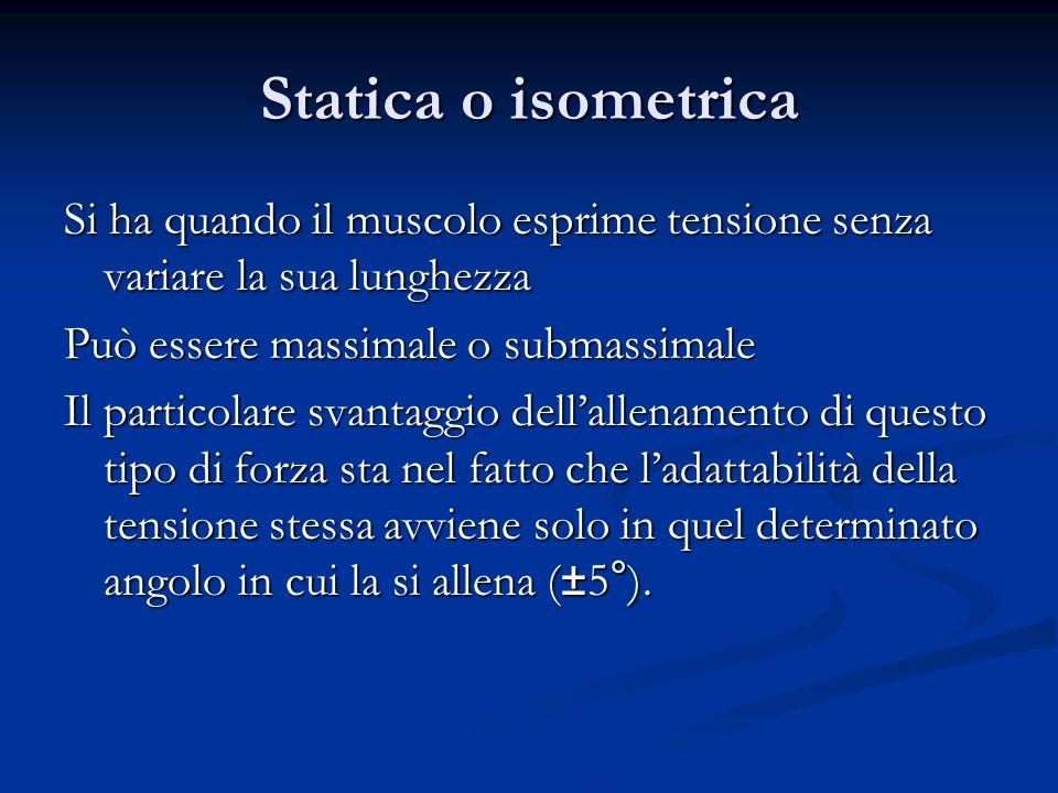 Statica o isometrica Si ha quando il muscolo esprime tensione senza variare la sua lunghezza Può essere massimale o submassimale Il particolare svanta
