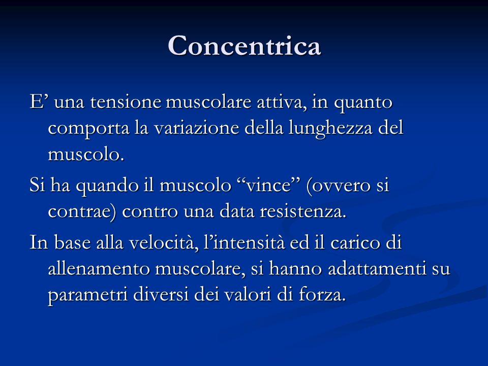 Concentrica E una tensione muscolare attiva, in quanto comporta la variazione della lunghezza del muscolo. Si ha quando il muscolo vince (ovvero si co