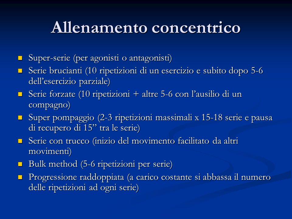 Allenamento concentrico Super-serie (per agonisti o antagonisti) Super-serie (per agonisti o antagonisti) Serie brucianti (10 ripetizioni di un eserci