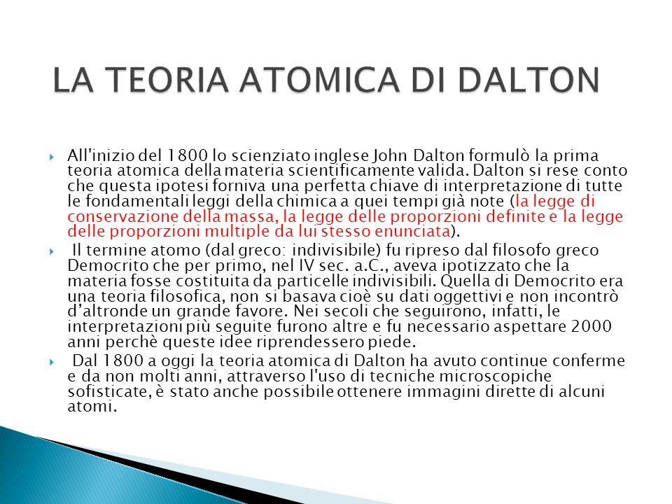 All'inizio del 1800 lo scienziato inglese John Dalton formulò la prima teoria atomica della materia scientificamente valida. Dalton si rese conto che