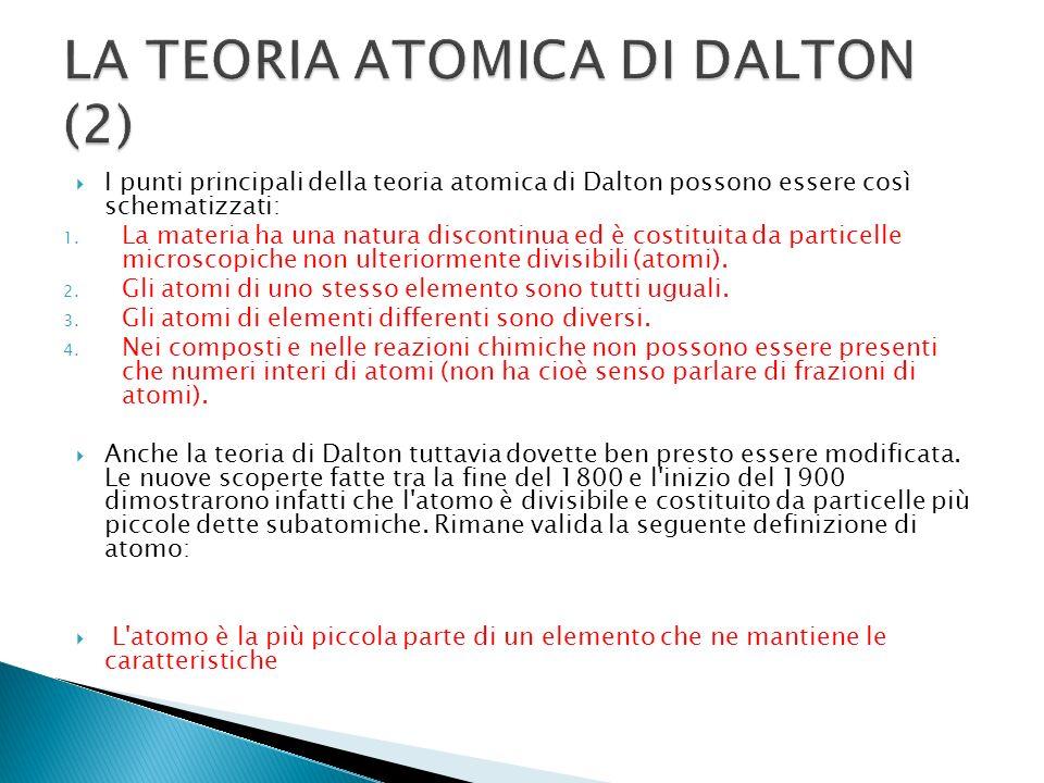 I punti principali della teoria atomica di Dalton possono essere così schematizzati: 1. La materia ha una natura discontinua ed è costituita da partic