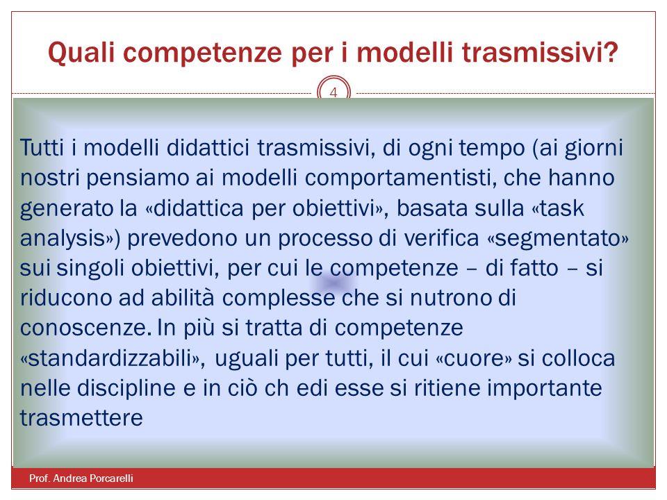 Quali competenze per i modelli trasmissivi.Prof.