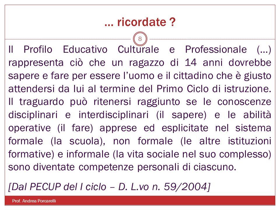 … ricordate ? Prof. Andrea Porcarelli 8 Il Profilo Educativo Culturale e Professionale (…) rappresenta ciò che un ragazzo di 14 anni dovrebbe sapere e