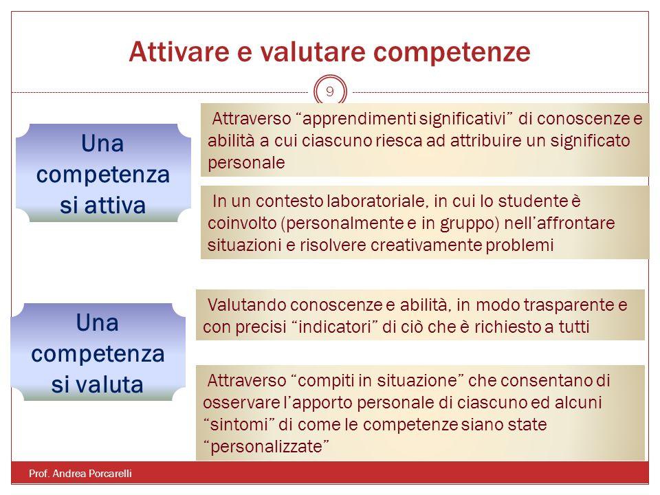 Attivare e valutare competenze Prof. Andrea Porcarelli 9 Una competenza si attiva Attraverso apprendimenti significativi di conoscenze e abilità a cui
