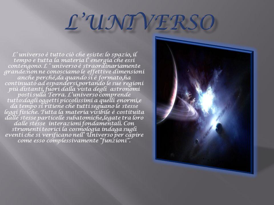 L universo è tutto ciò che esiste: lo spazio, il tempo e tutta la materia l energia che essi contengono. L universo è straordinariamente grande:non ne