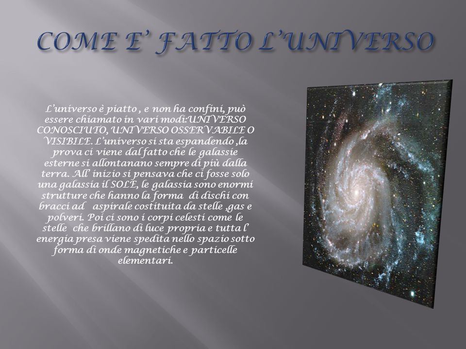 Luniverso è piatto, e non ha confini, può essere chiamato in vari modi:UNIVERSO CONOSCIUTO, UNIVERSO OSSERVABILE O VISIBILE. Luniverso si sta espanden