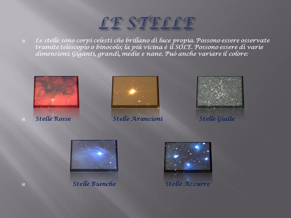 Le stelle sono corpi celesti che brillano di luce propia. Possono essere osservate tramite telescopio o binocolo; la più vicina è il SOLE. Possono ess