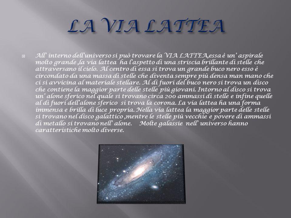 All interno delluniverso si può trovare la VIA LATTEA,essa è un aspirale molto grande,la via lattea ha laspetto di una striscia brillante di stelle ch