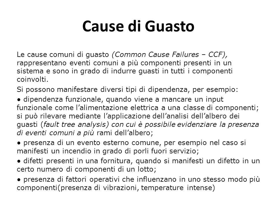 Cause di Guasto Le cause comuni di guasto (Common Cause Failures – CCF), rappresentano eventi comuni a più componenti presenti in un sistema e sono in