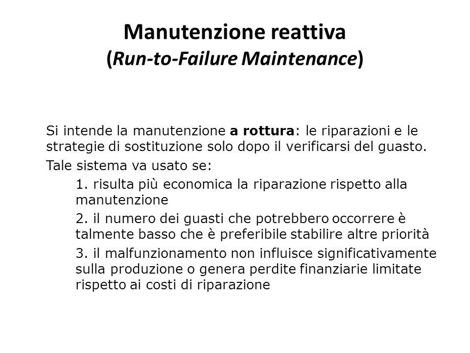 Manutenzione reattiva (Run-to-Failure Maintenance) Si intende la manutenzione a rottura: le riparazioni e le strategie di sostituzione solo dopo il ve