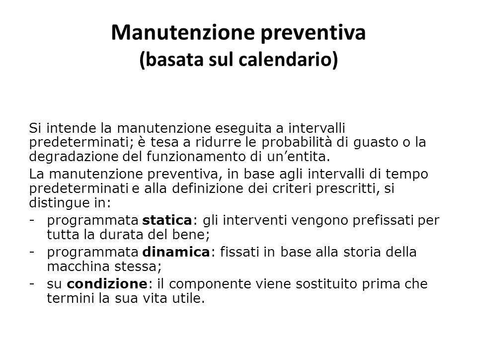 Manutenzione preventiva (basata sul calendario) Si intende la manutenzione eseguita a intervalli predeterminati; è tesa a ridurre le probabilità di gu