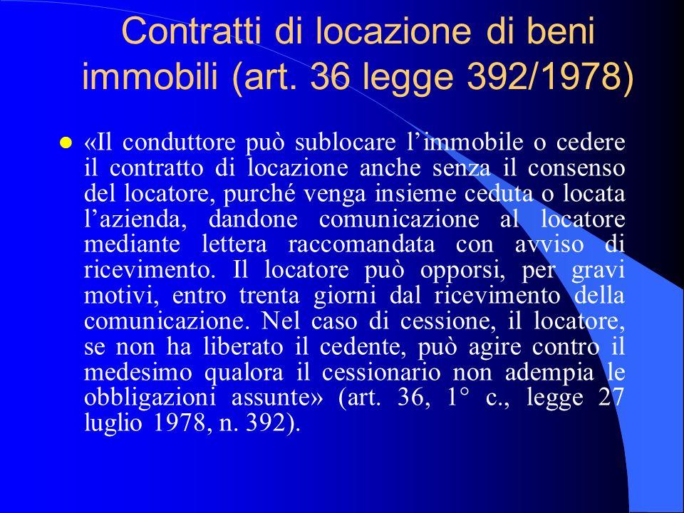 Contratti di locazione di beni immobili (art. 36 legge 392/1978) l «Il conduttore può sublocare limmobile o cedere il contratto di locazione anche sen