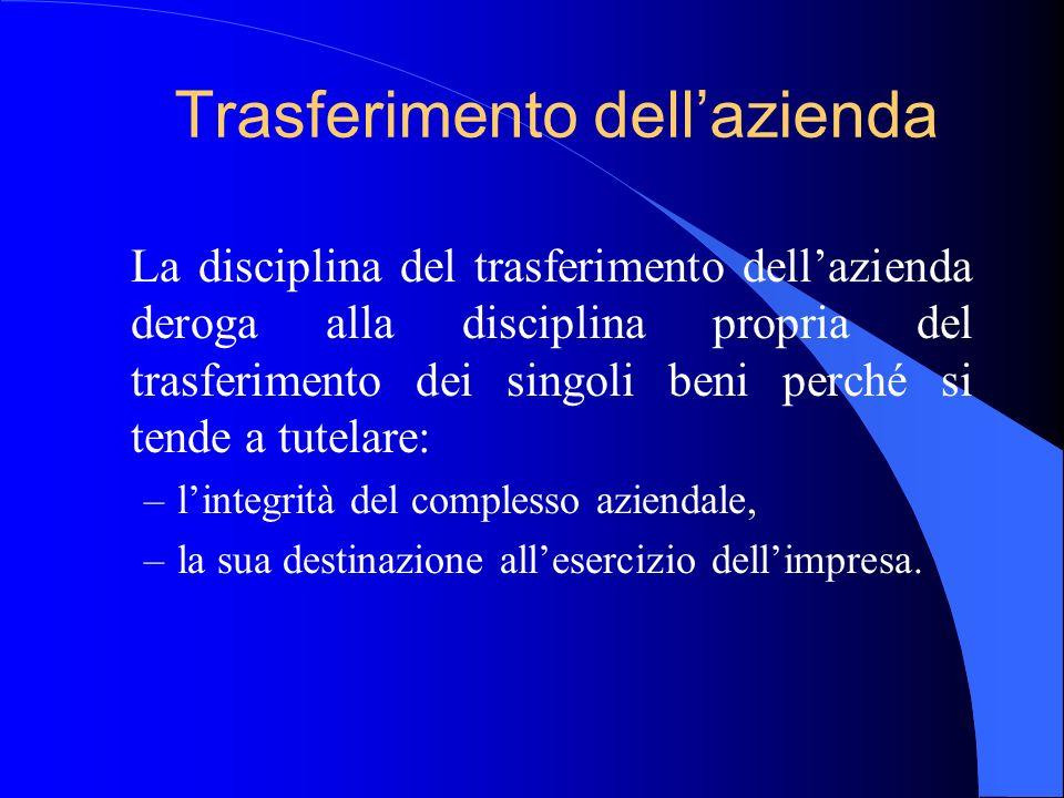 Trasferimento dellazienda La disciplina del trasferimento dellazienda deroga alla disciplina propria del trasferimento dei singoli beni perché si tend