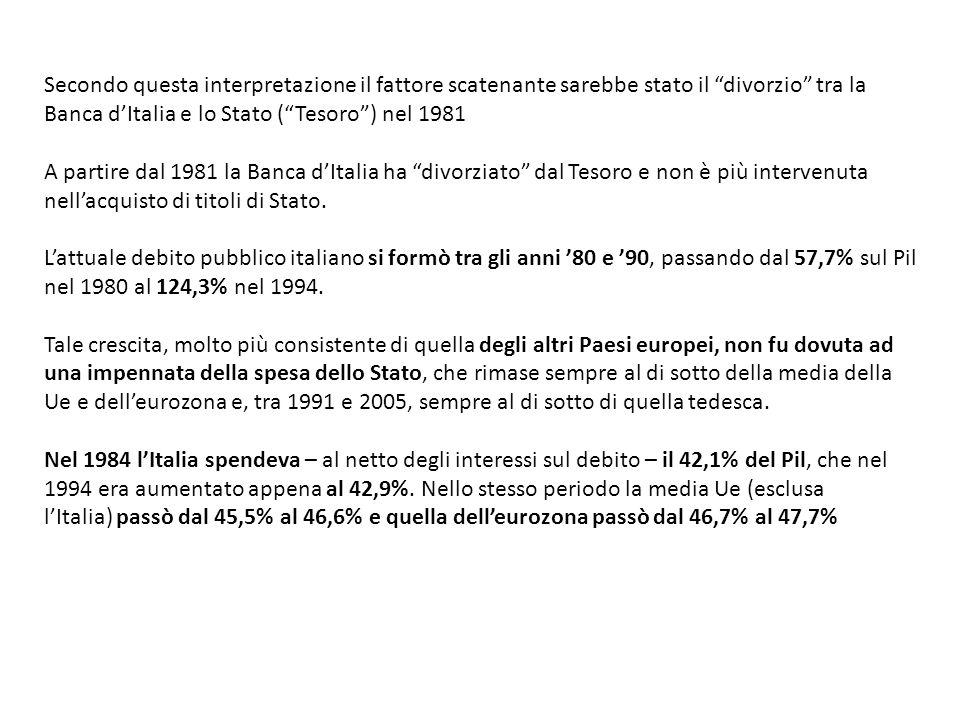 Da dove derivava allora la maggiore crescita del debito italiano.