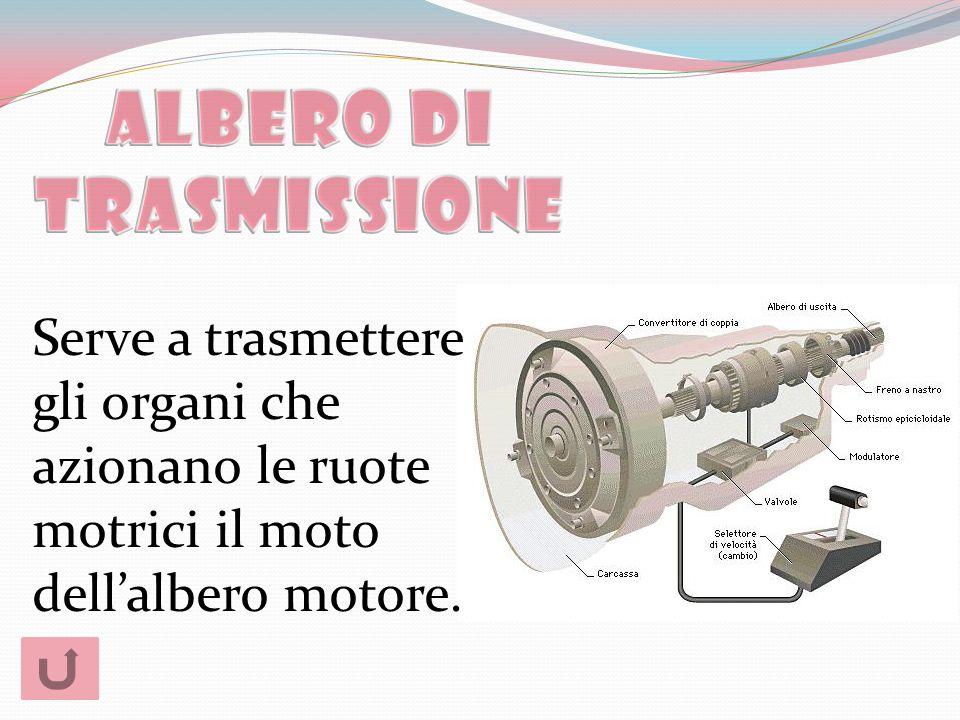 Serve a trasmettere gli organi che azionano le ruote motrici il moto dellalbero motore.
