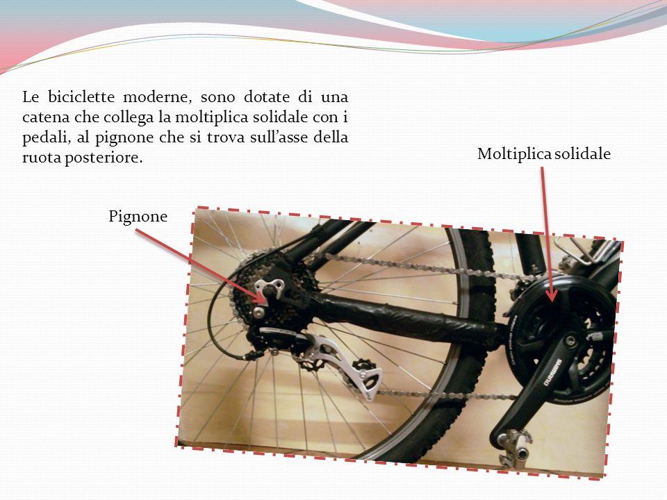 Le biciclette moderne, sono dotate di una catena che collega la moltiplica solidale con i pedali, al pignone che si trova sullasse della ruota posteriore.