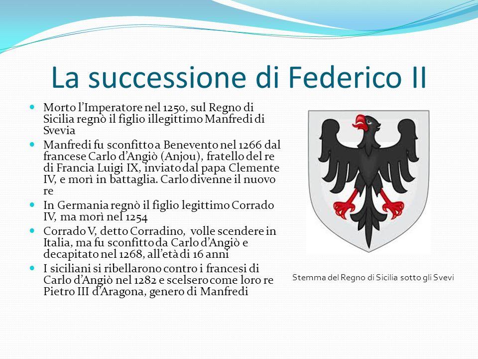 La successione di Federico II Morto lImperatore nel 1250, sul Regno di Sicilia regnò il figlio illegittimo Manfredi di Svevia Manfredi fu sconfitto a Benevento nel 1266 dal francese Carlo dAngiò (Anjou), fratello del re di Francia Luigi IX, inviato dal papa Clemente IV, e morì in battaglia.