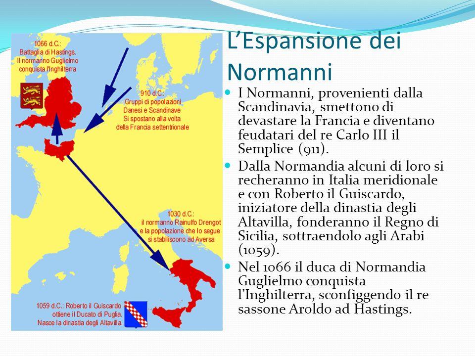 LEspansione dei Normanni I Normanni, provenienti dalla Scandinavia, smettono di devastare la Francia e diventano feudatari del re Carlo III il Semplice (911).