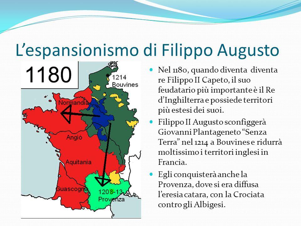 Lespansionismo di Filippo Augusto Nel 1180, quando diventa diventa re Filippo II Capeto, il suo feudatario più importante è il Re dInghilterra e possiede territori più estesi dei suoi.