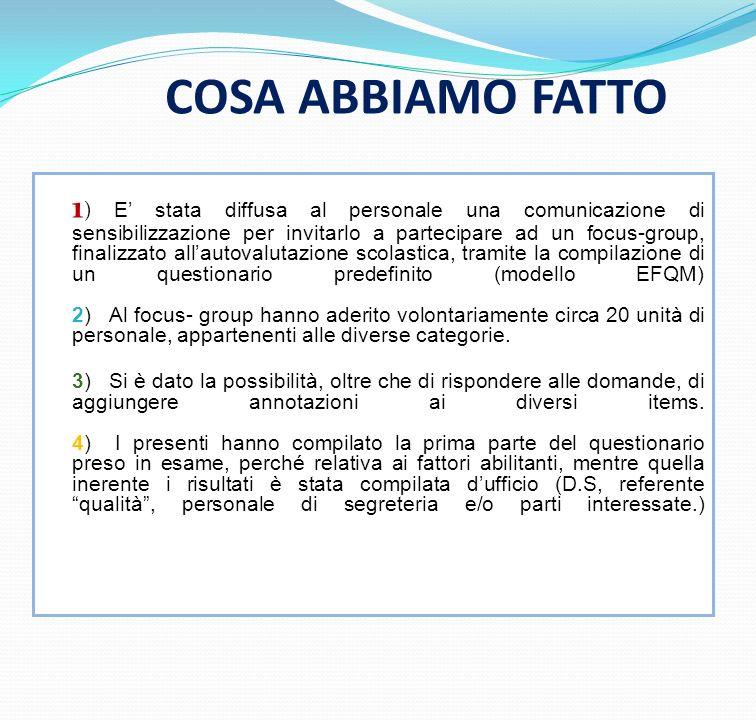 COSA ABBIAMO FATTO 1 ) E stata diffusa al personale una comunicazione di sensibilizzazione per invitarlo a partecipare ad un focus-group, finalizzato