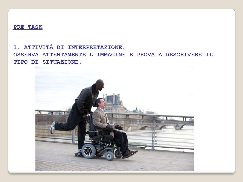 2.ATTIVITÀ DI DISCUSSIONE PRIMA DELLA VISIONE DELLA SEQUENZA Tema di discussione LHANDICAP 1.
