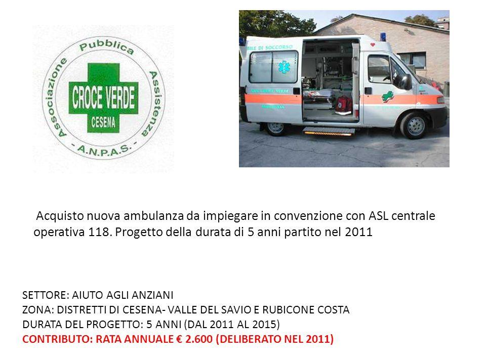 Acquisto nuova ambulanza da impiegare in convenzione con ASL centrale operativa 118.
