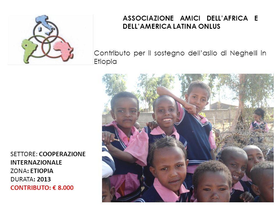 ASSOCIAZIONE AMICI DELLAFRICA E DELLAMERICA LATINA ONLUS Contributo per il sostegno dellasilo di Neghelli in Etiopia SETTORE: COOPERAZIONE INTERNAZIONALE ZONA: ETIOPIA DURATA: 2013 CONTRIBUTO: 8.000