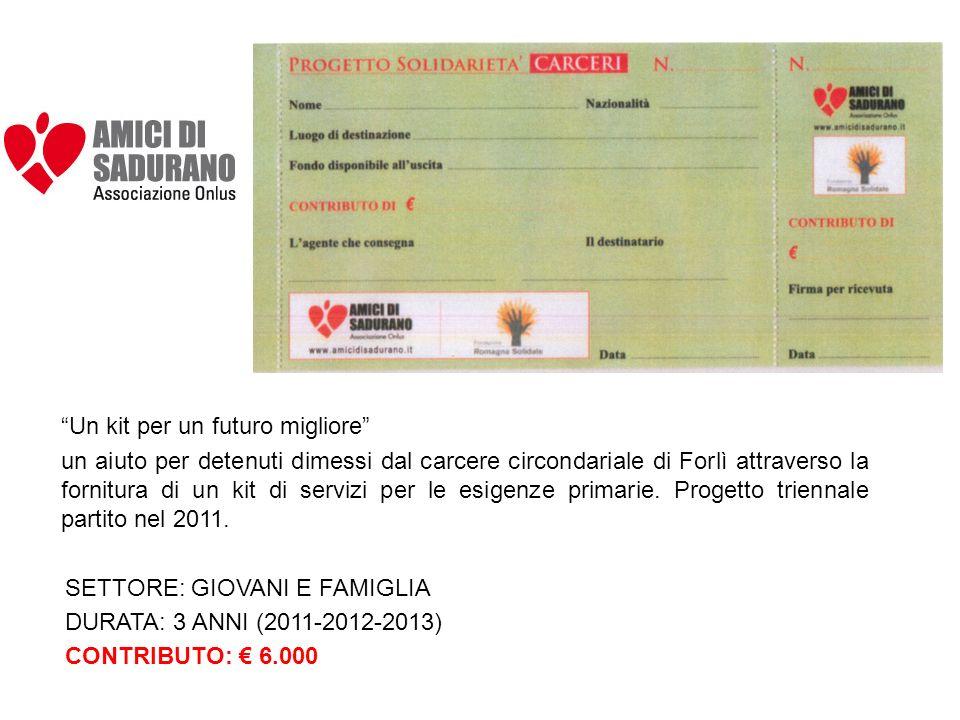 Un kit per un futuro migliore un aiuto per detenuti dimessi dal carcere circondariale di Forlì attraverso la fornitura di un kit di servizi per le esigenze primarie.
