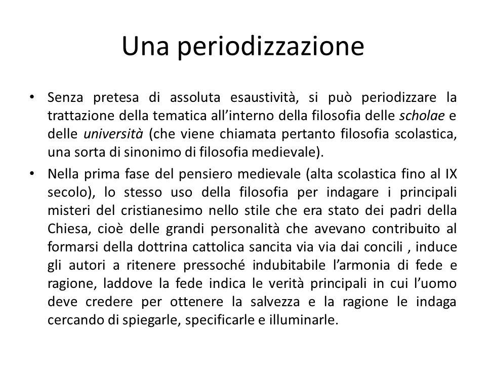 Una periodizzazione Senza pretesa di assoluta esaustività, si può periodizzare la trattazione della tematica allinterno della filosofia delle scholae