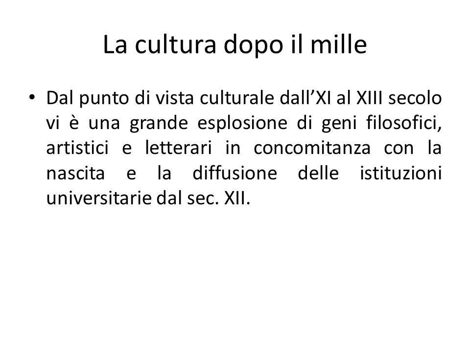 La cultura dopo il mille Dal punto di vista culturale dallXI al XIII secolo vi è una grande esplosione di geni filosofici, artistici e letterari in co