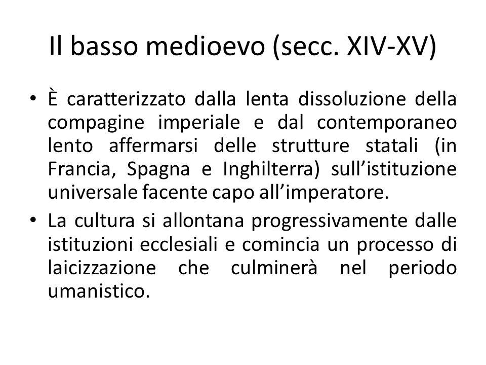 Il basso medioevo (secc. XIV-XV) È caratterizzato dalla lenta dissoluzione della compagine imperiale e dal contemporaneo lento affermarsi delle strutt