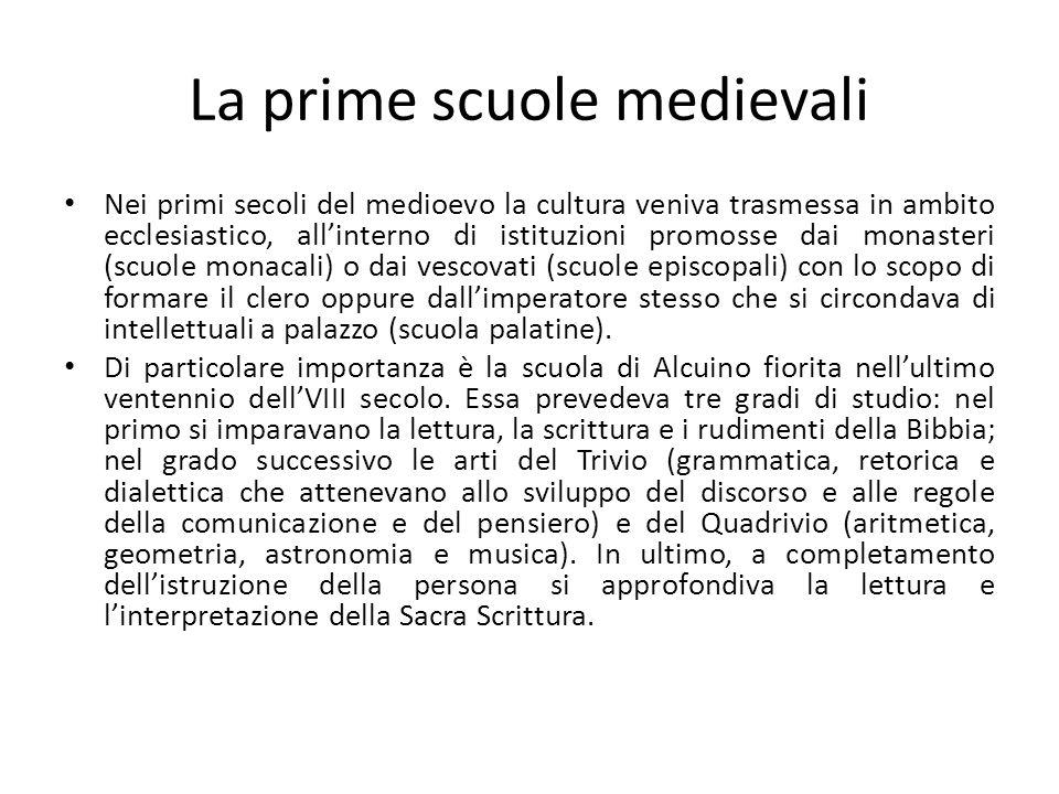 La prime scuole medievali Nei primi secoli del medioevo la cultura veniva trasmessa in ambito ecclesiastico, allinterno di istituzioni promosse dai mo