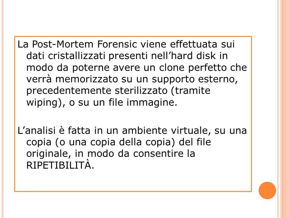 La Post-Mortem Forensic viene effettuata sui dati cristallizzati presenti nellhard disk in modo da poterne avere un clone perfetto che verrà memorizza