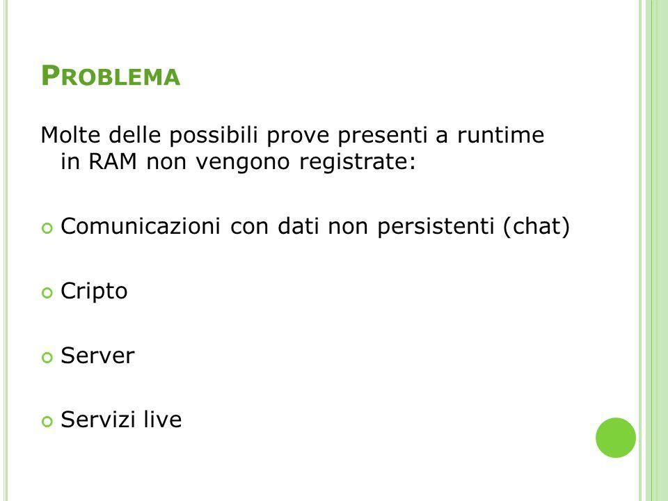 P ROBLEMA Molte delle possibili prove presenti a runtime in RAM non vengono registrate: Comunicazioni con dati non persistenti (chat) Cripto Server Se