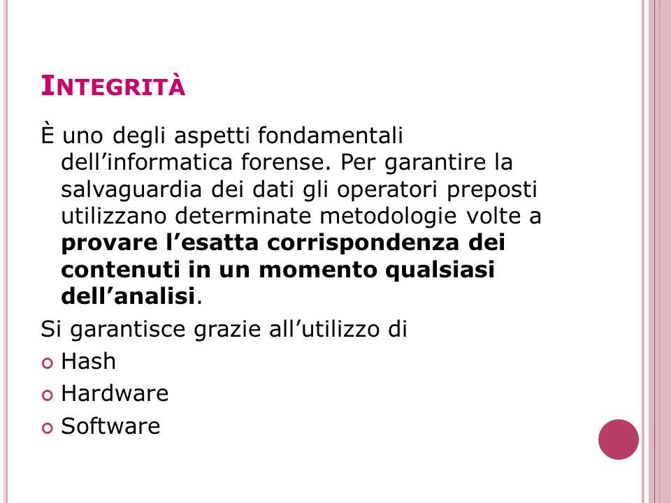 I NTEGRITÀ È uno degli aspetti fondamentali dellinformatica forense. Per garantire la salvaguardia dei dati gli operatori preposti utilizzano determin