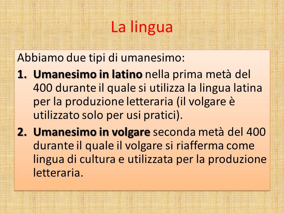 La lingua Abbiamo due tipi di umanesimo: 1.Umanesimo in latino 1.Umanesimo in latino nella prima metà del 400 durante il quale si utilizza la lingua l