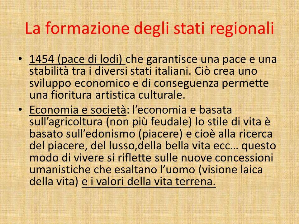 La formazione degli stati regionali 1454 (pace di lodi) che garantisce una pace e una stabilità tra i diversi stati italiani. Ciò crea uno sviluppo ec