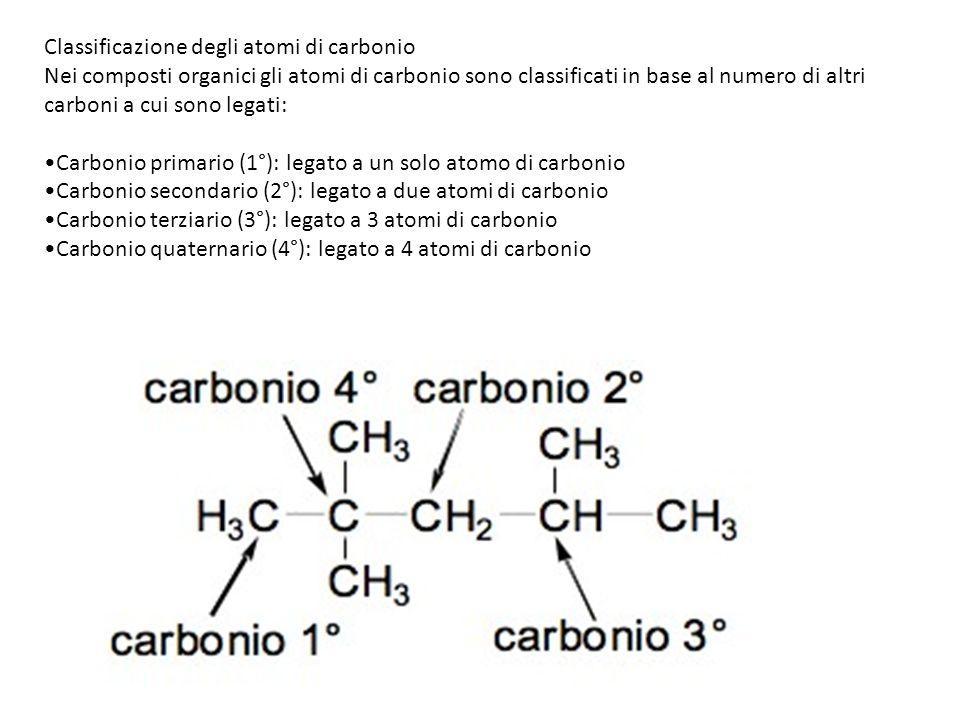 Classificazione degli atomi di carbonio Nei composti organici gli atomi di carbonio sono classificati in base al numero di altri carboni a cui sono le