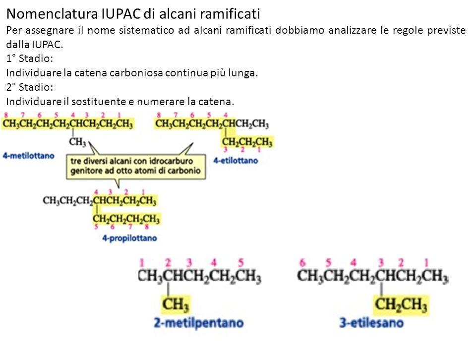 Nomenclatura IUPAC di alcani ramificati Per assegnare il nome sistematico ad alcani ramificati dobbiamo analizzare le regole previste dalla IUPAC. 1°