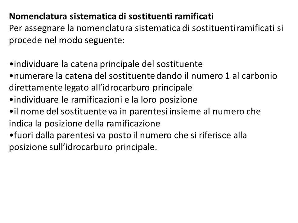 Nomenclatura sistematica di sostituenti ramificati Per assegnare la nomenclatura sistematica di sostituenti ramificati si procede nel modo seguente: i