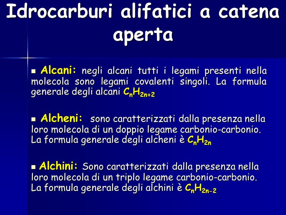 Idrocarburi alifatici a catena aperta Alcani: negli alcani tutti i legami presenti nella molecola sono legami covalenti singoli. La formula generale d