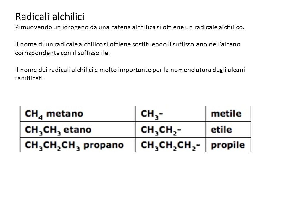 Radicali alchilici Rimuovendo un idrogeno da una catena alchilica si ottiene un radicale alchilico. Il nome di un radicale alchilico si ottiene sostit