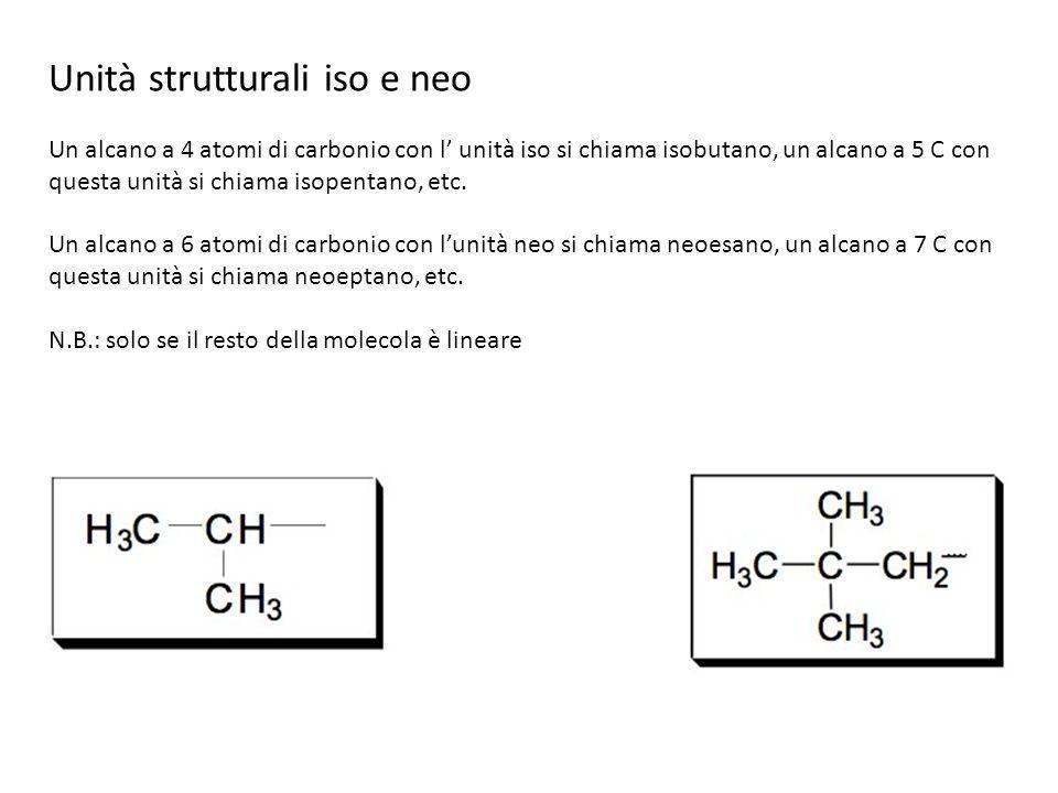 Unità strutturali iso e neo Un alcano a 4 atomi di carbonio con l unità iso si chiama isobutano, un alcano a 5 C con questa unità si chiama isopentano